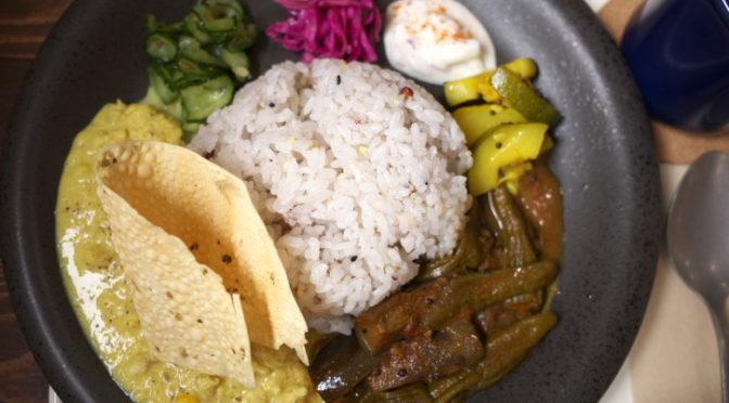 ASOBINA(伊那市;鶏挽き肉コーンキーマ&茄子と獅子唐のカレー)